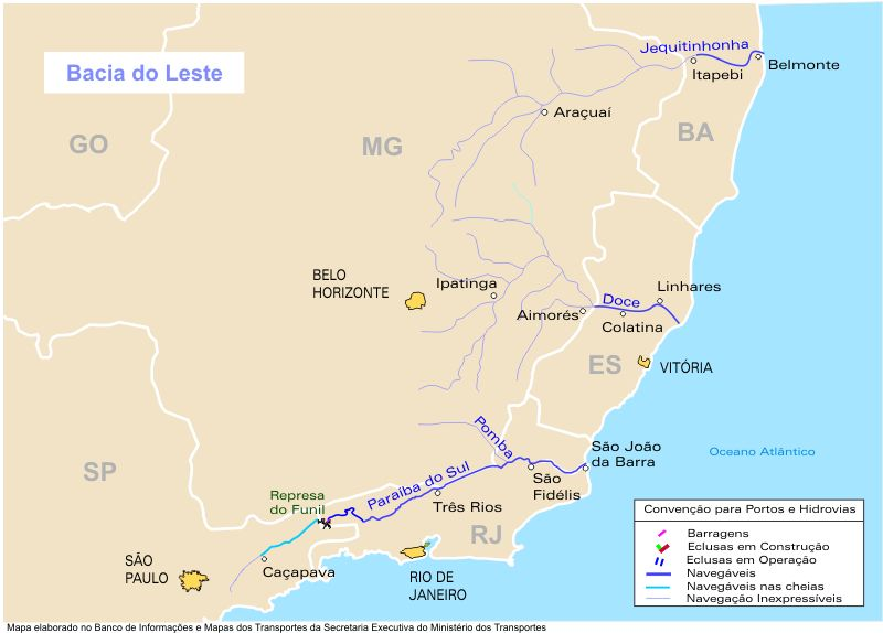 Eastern Basin Waterways Map, Brazil