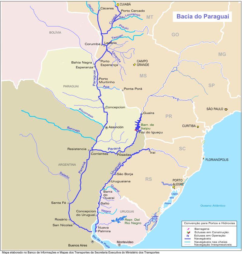 Mapa, Vias Fluviales y Canales, Cuenca del Rio Paraguai, Brasil
