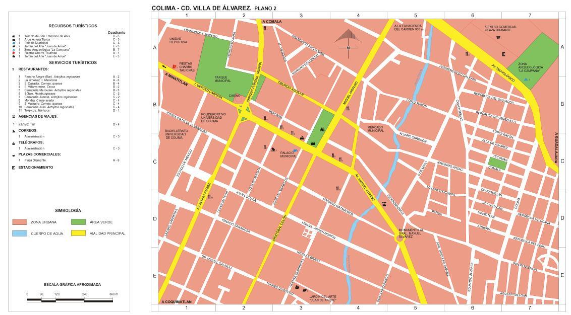 Villa de Alvarez Downtown Map (1), Colima, Mexico