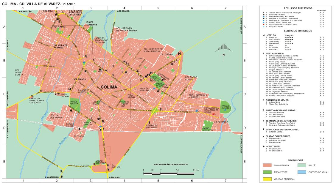 Villa de Alvarez City Map, Colima, Mexico