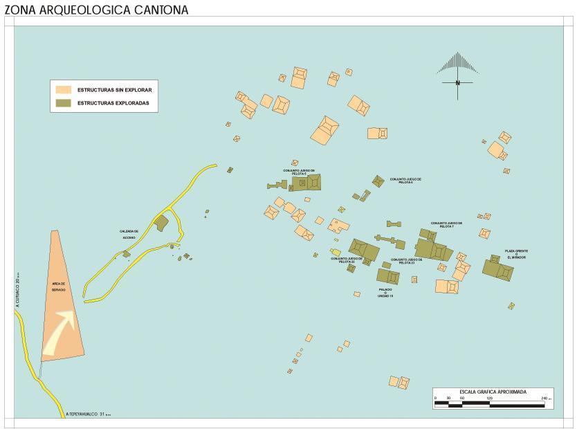 Mapa Zona Arqueológica de Cantona, Puebla, Mexico