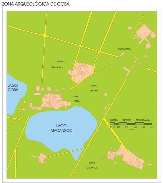 Coba Archaeological Site Map, Quintana Roo, Mexico