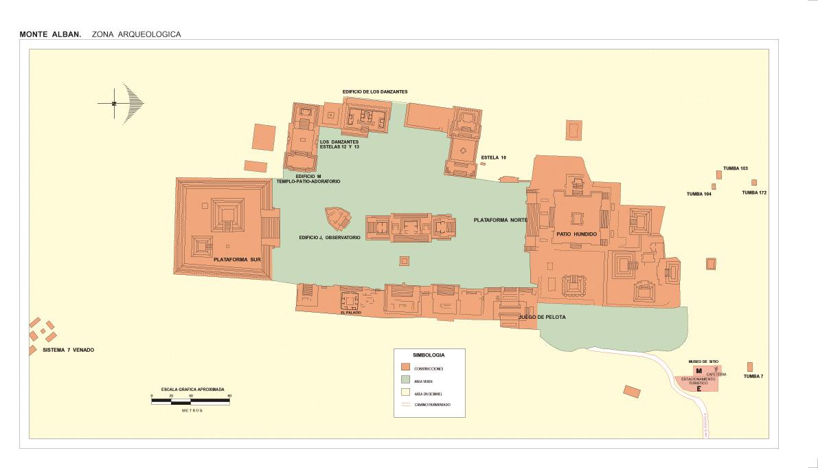 Mapa Zona Arqueológica de Monte Albán, Oaxaca, Mexico