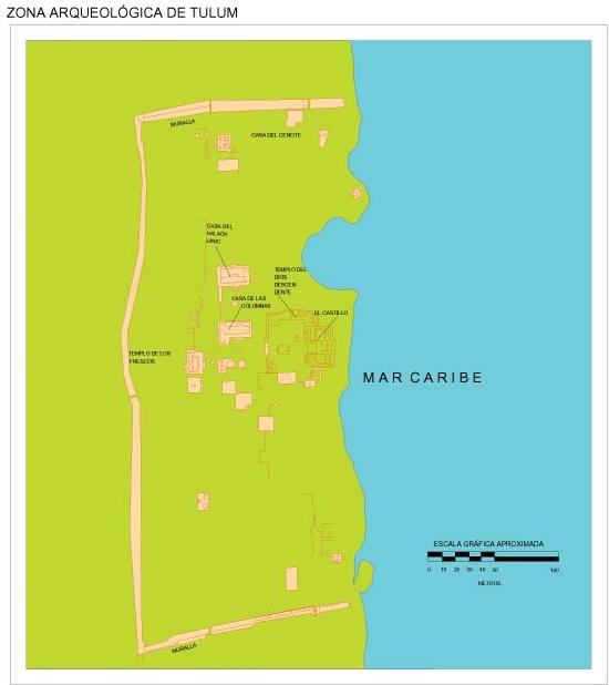 Tulum Archaeological Site Map, Quintana Roo, Mexico