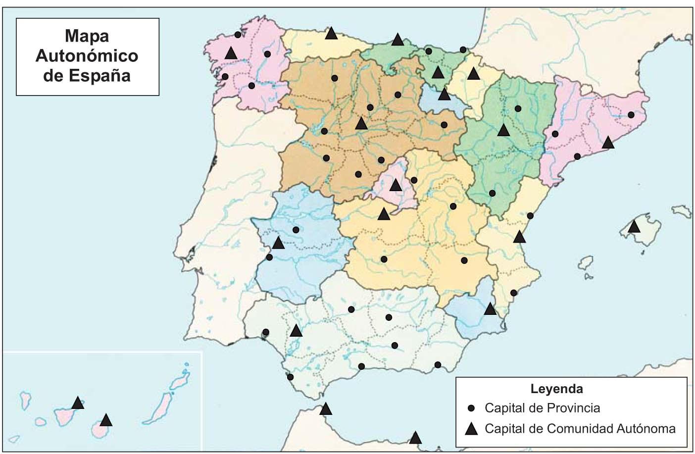 Mapa autonómico de Espana