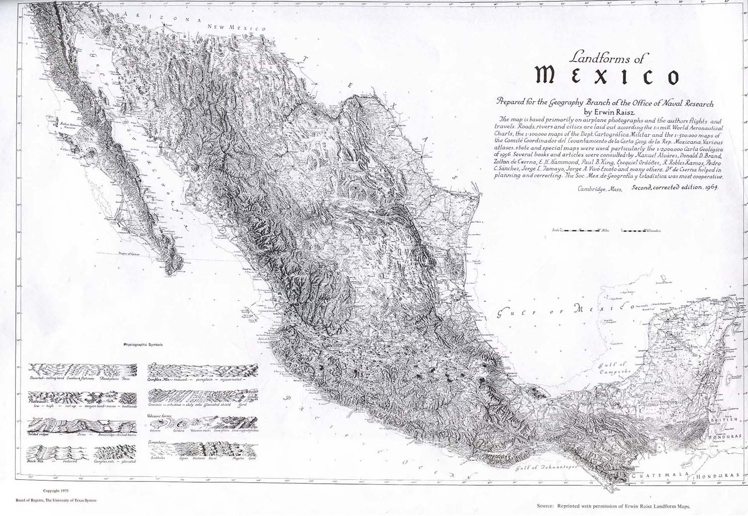 Landforms Map, Mexico