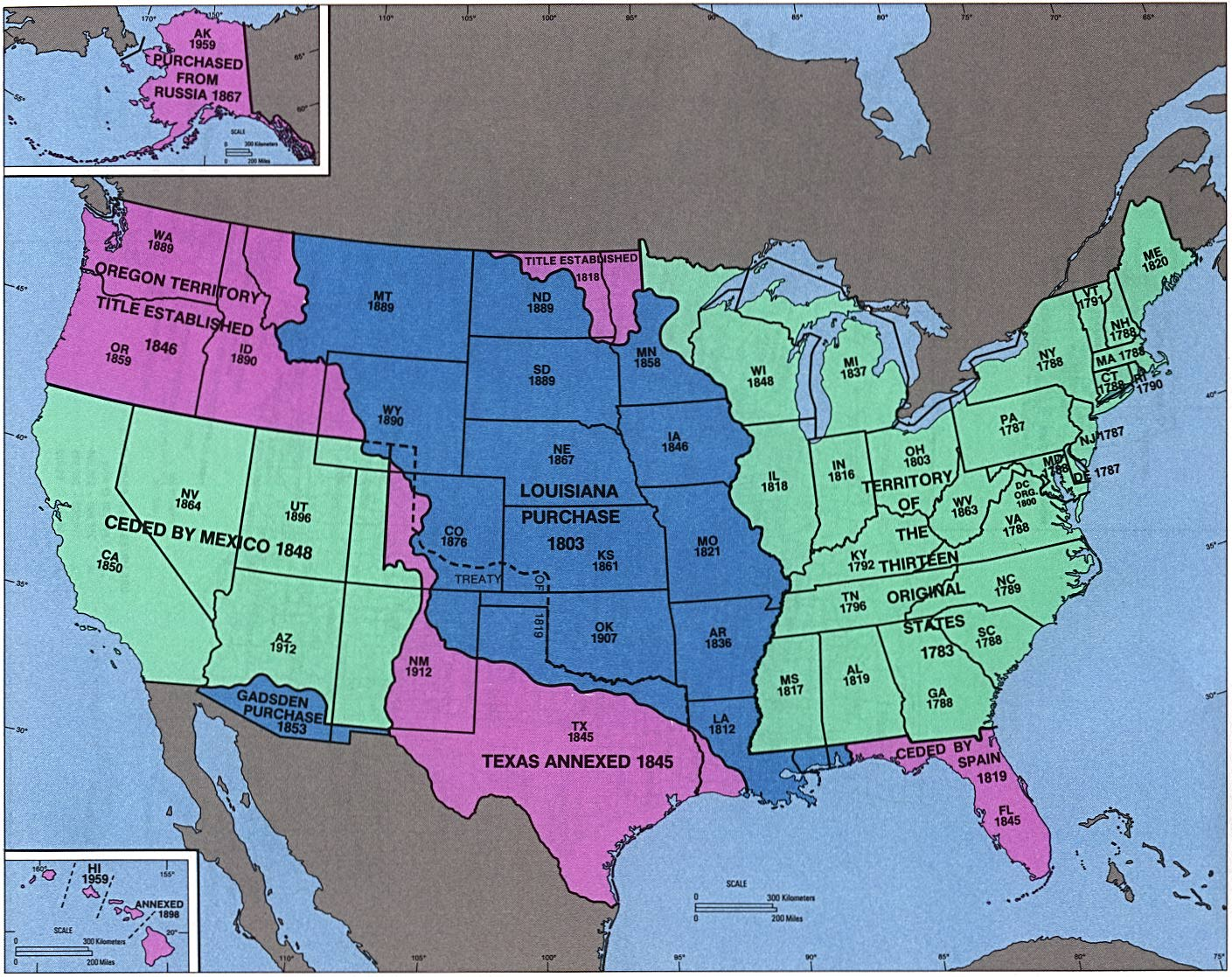 Admission of States and Territorial Acquistion Map, United States