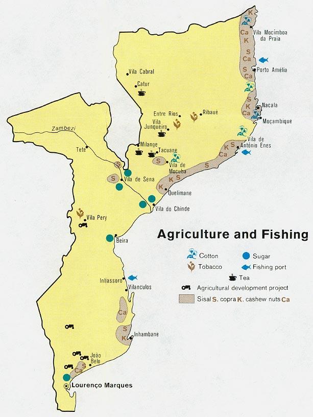 Mapa de Agricultura y Pesca de Mozambique