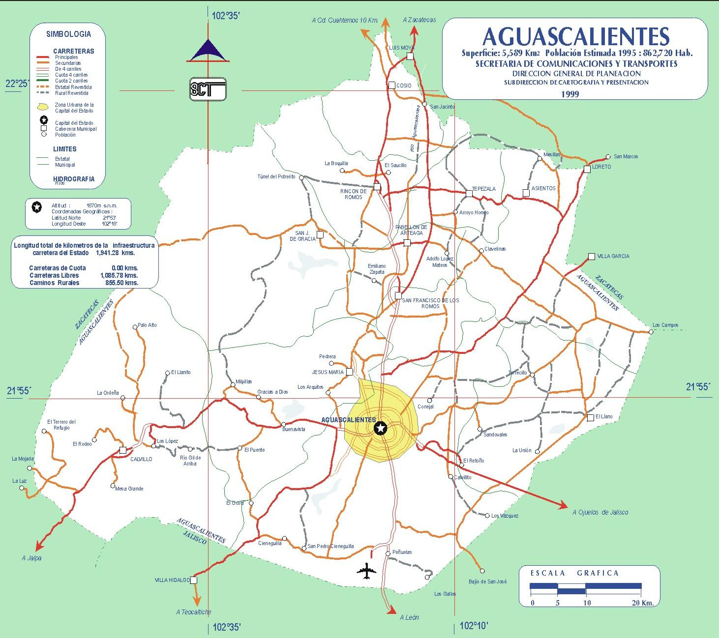 Map of Aguascalientes (State), Mexico