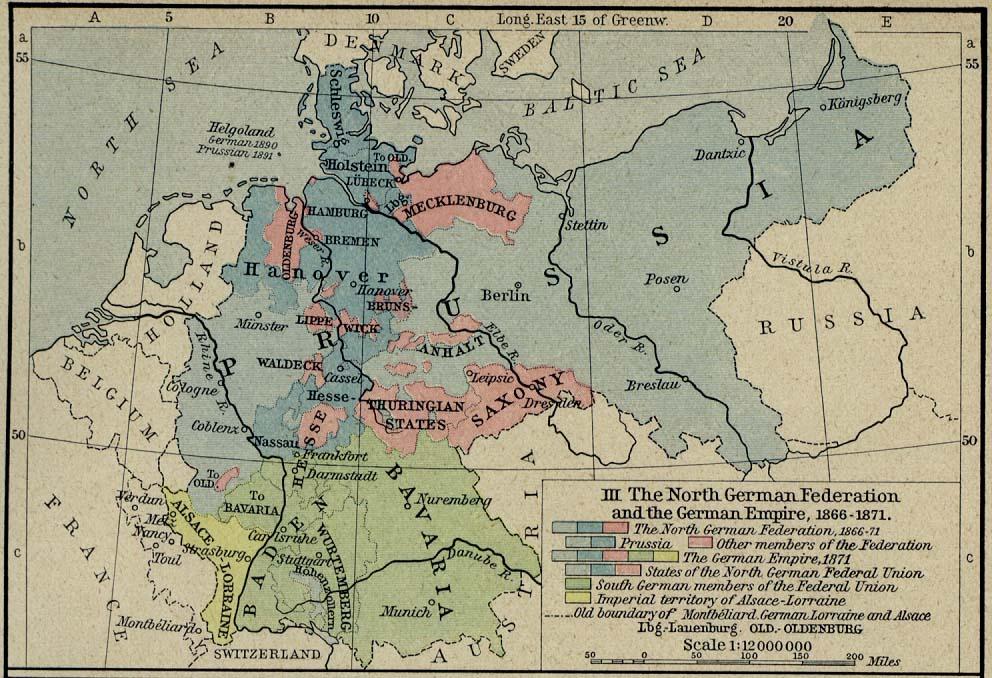 Mapa de Alemania 1815  - 1871