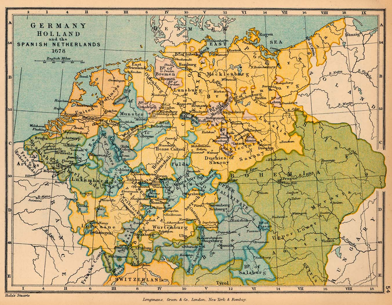 Map of Germany, Holland and the Spanish Netherlands in 1678