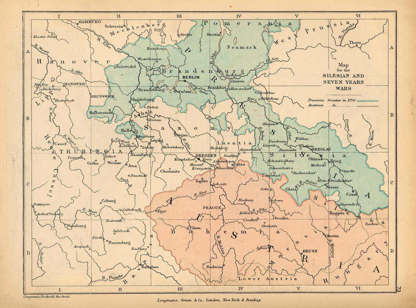 Map of Germany, Illustrating the Silesian and Seven Years' Wars