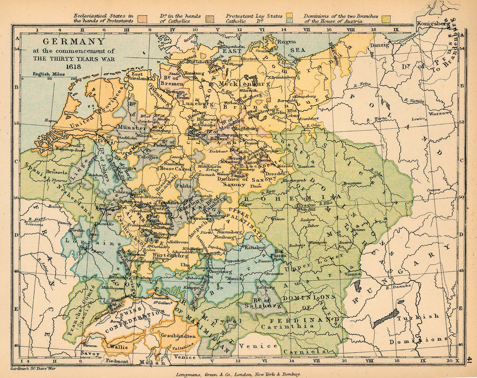 Map of Germany at the commencement of the Thirty Years War 1618