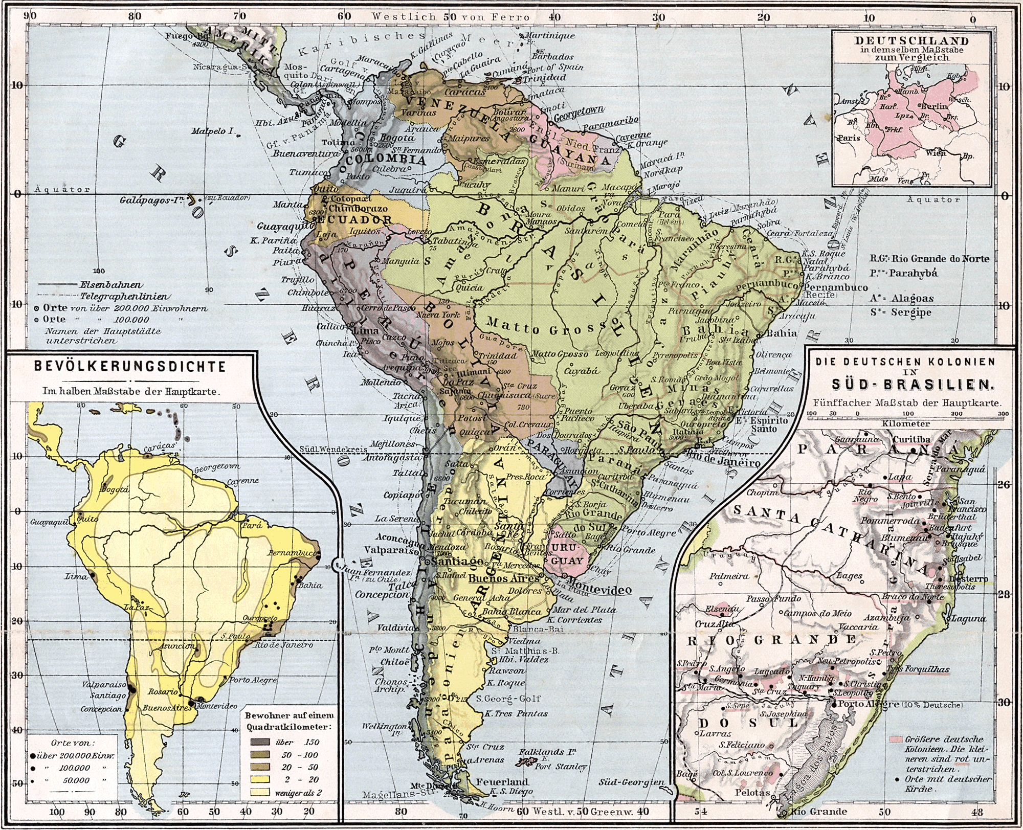 Map of South America 1905