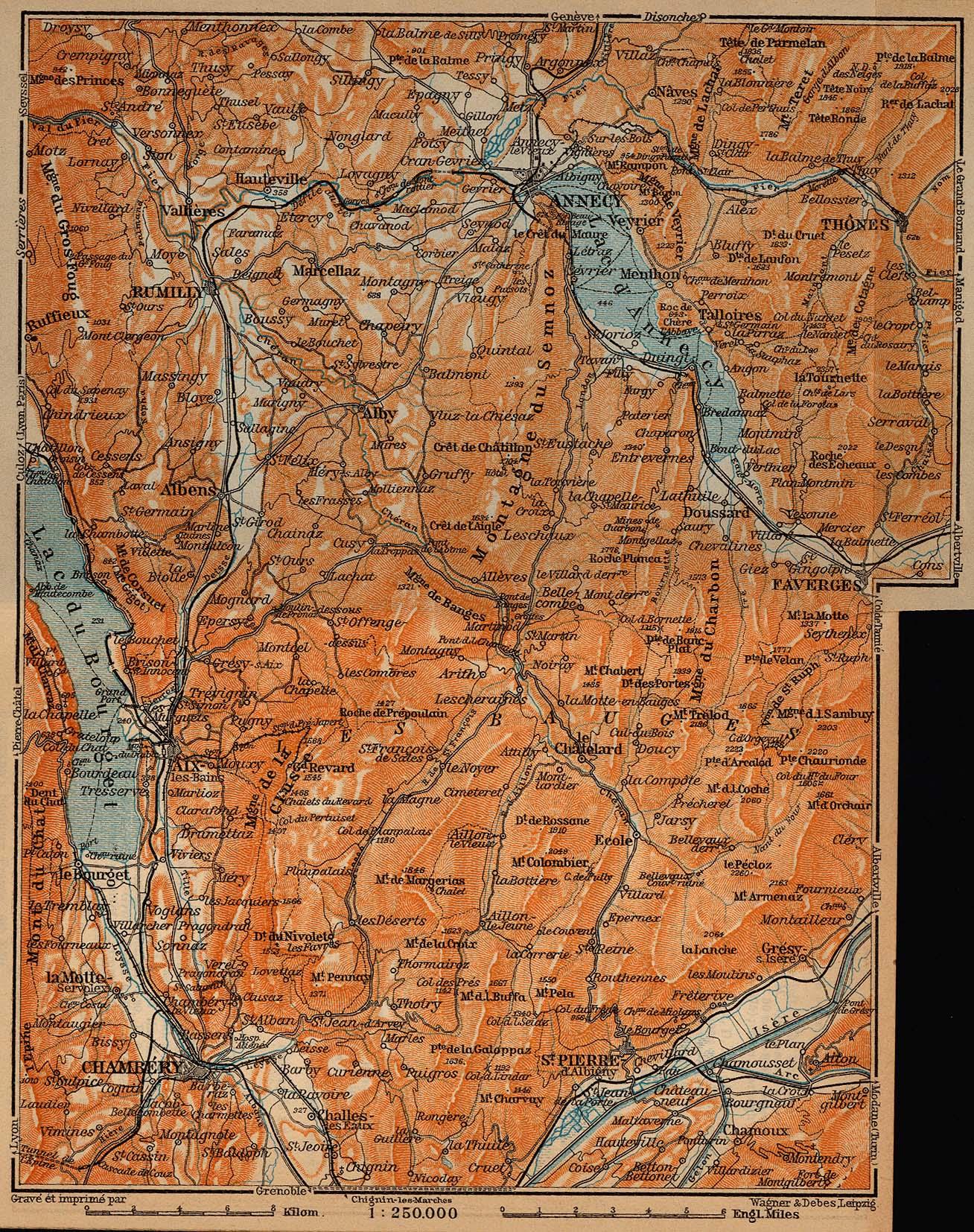 Annecy, Les Bauges, and Aix-les-Bains Map, France 1914