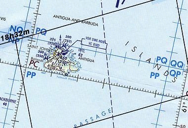 Map of Antigua, (Antigua & Barbuda)