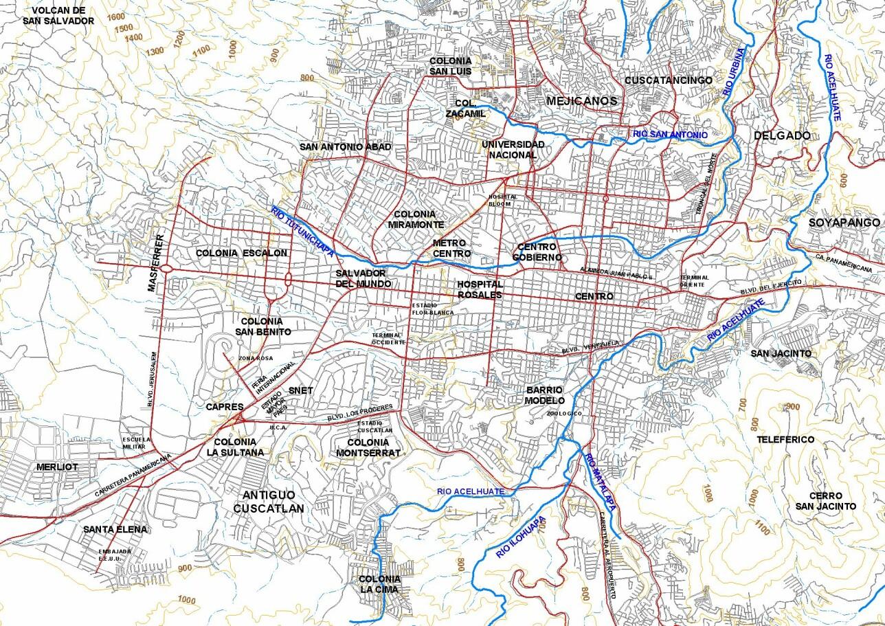 Mapa de Area Metropolitana del San Salvador, El Salvador