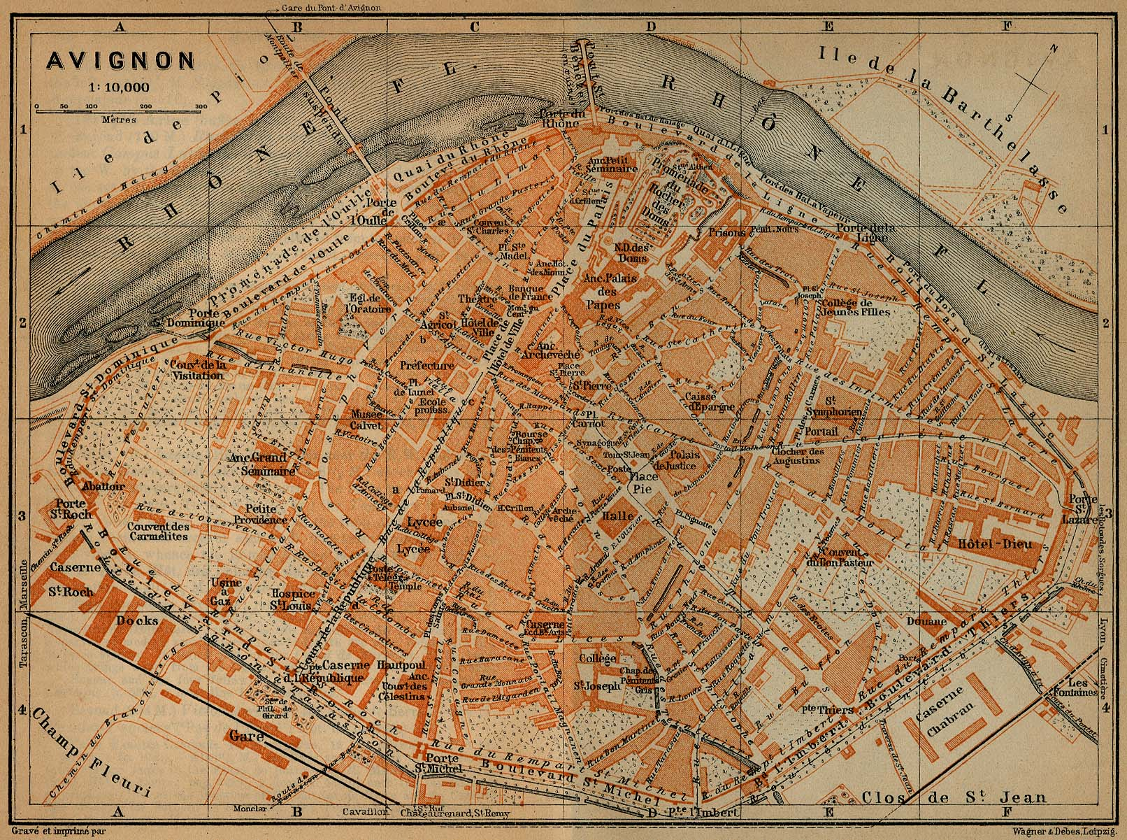 Avignon Map, France 1914