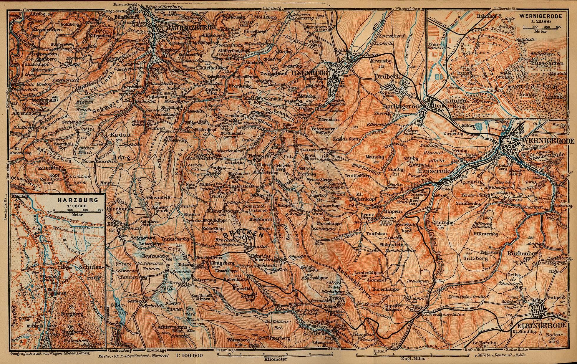 Mapa de Bad Harzburg, Alemania 1910
