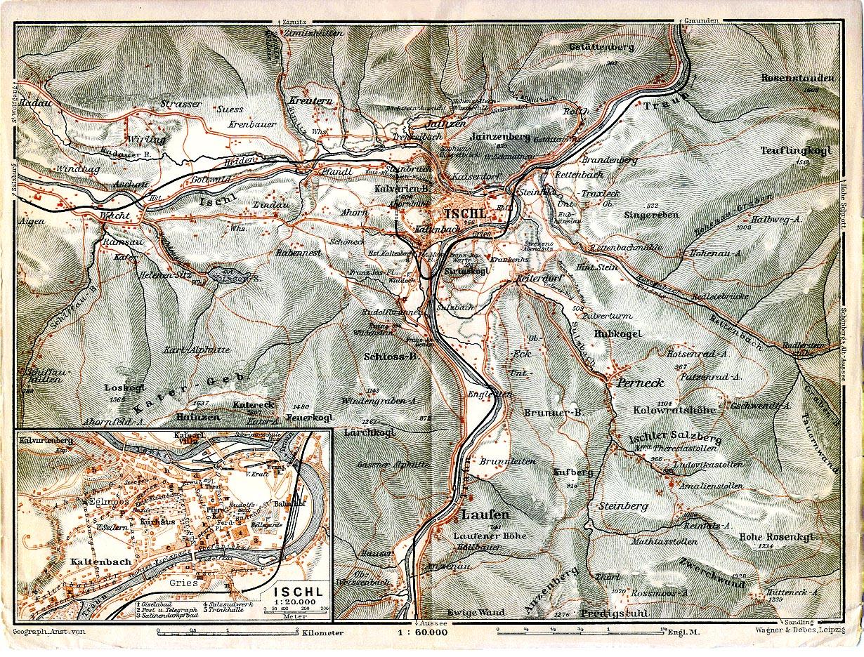 Bad Ischl Map, Austria 1911