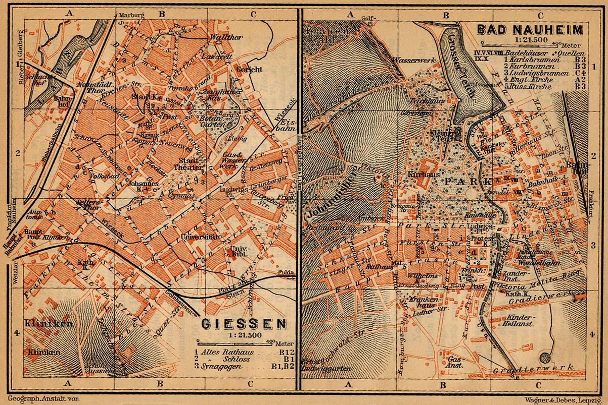 Mapa de Bad Nauheim, Alemania 1910