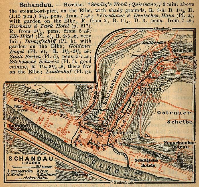 Mapa de Bad Schandau, Alemania 1910
