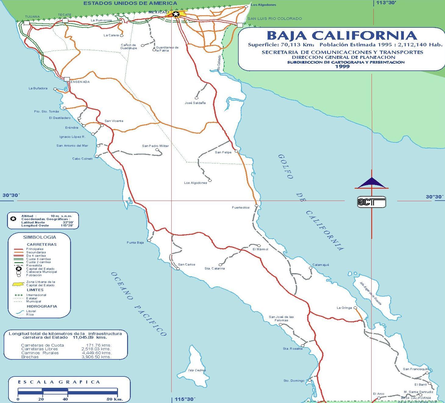 Map of North Baja California, Mexico