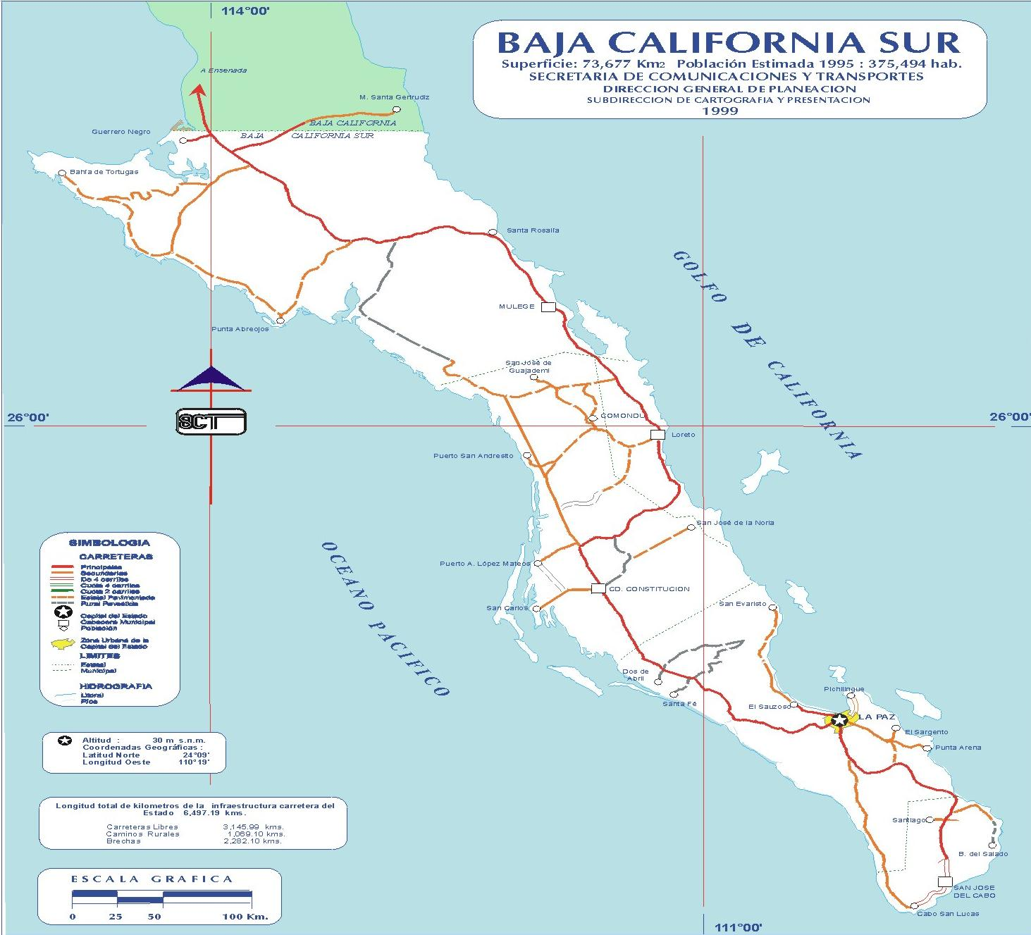 Baja California Map Mexico.Map Of Of South Baja California Mexico Mapa Owje Com