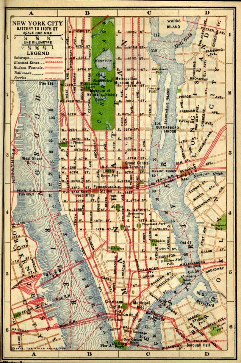 Mapa de Battery Hacia la Calle 110, Ciudad de Nueva York, Estados Unidos 1916