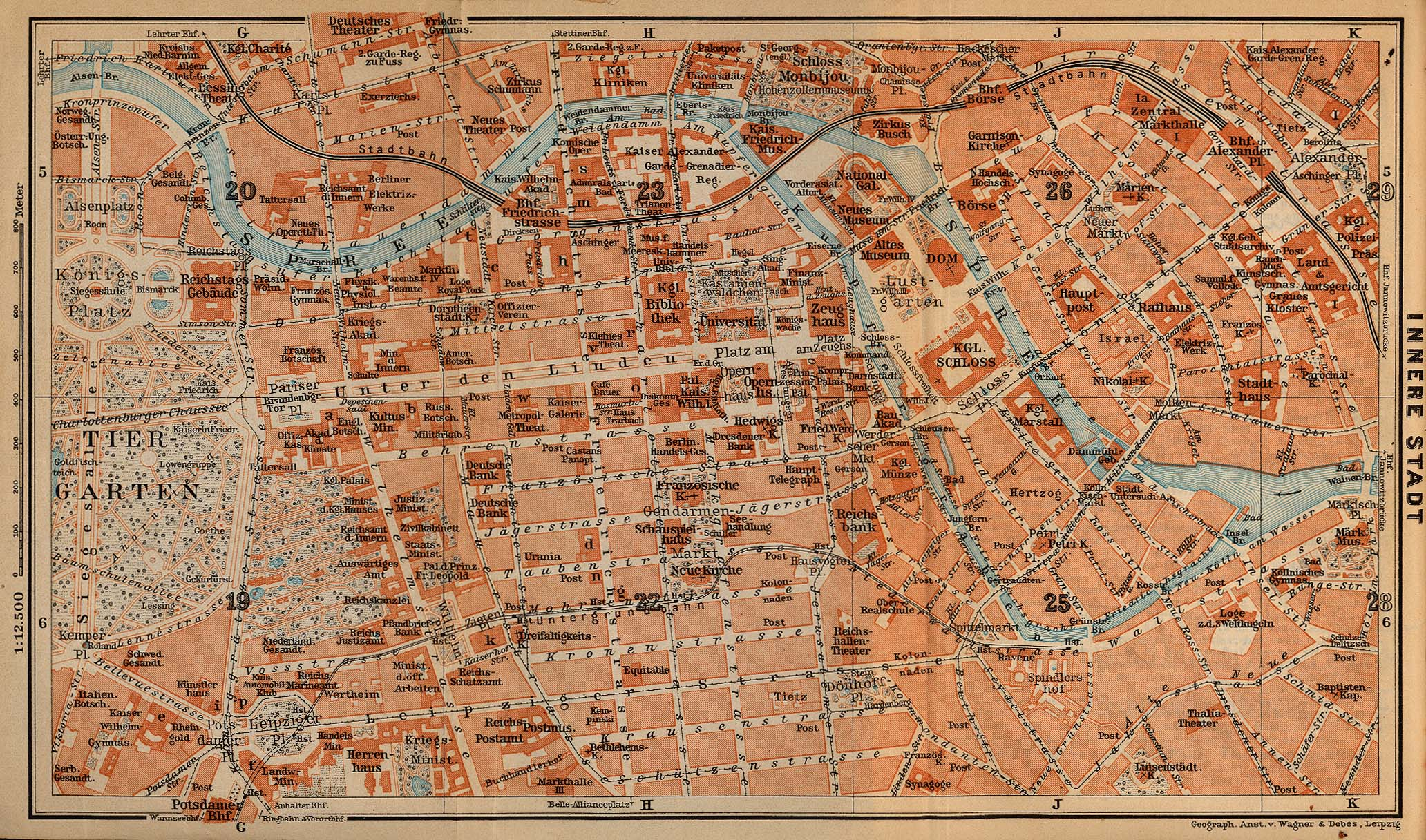 Berlin (Inner Town) Map, Germany 1910