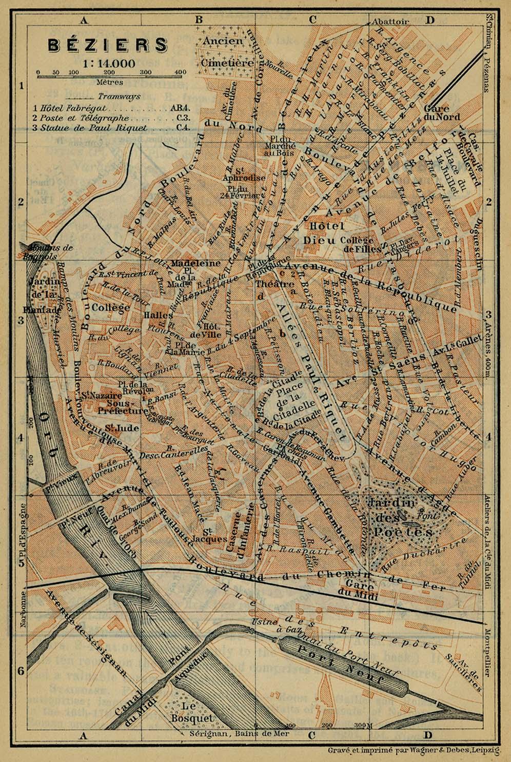 Mapa de Béziers, Francia 1914