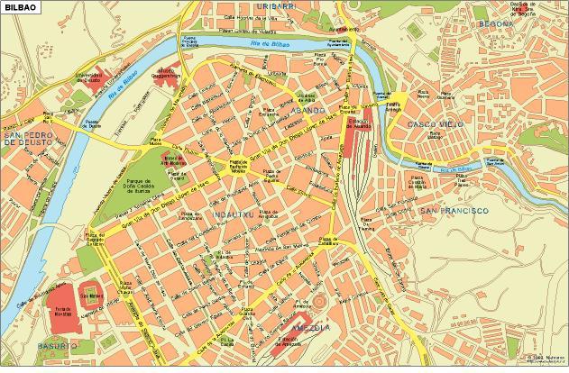 Mapa de Bilbao, España