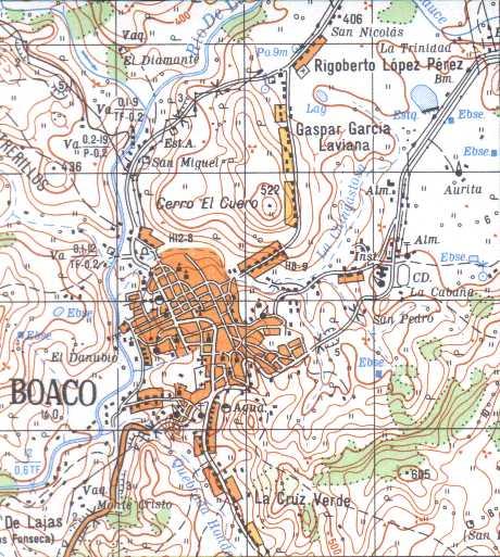 Map of Boaco, Boaco, Nicaragua
