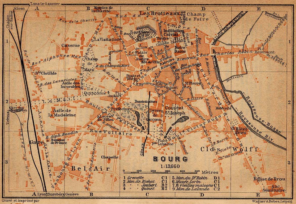 Bourg Map, France 1914