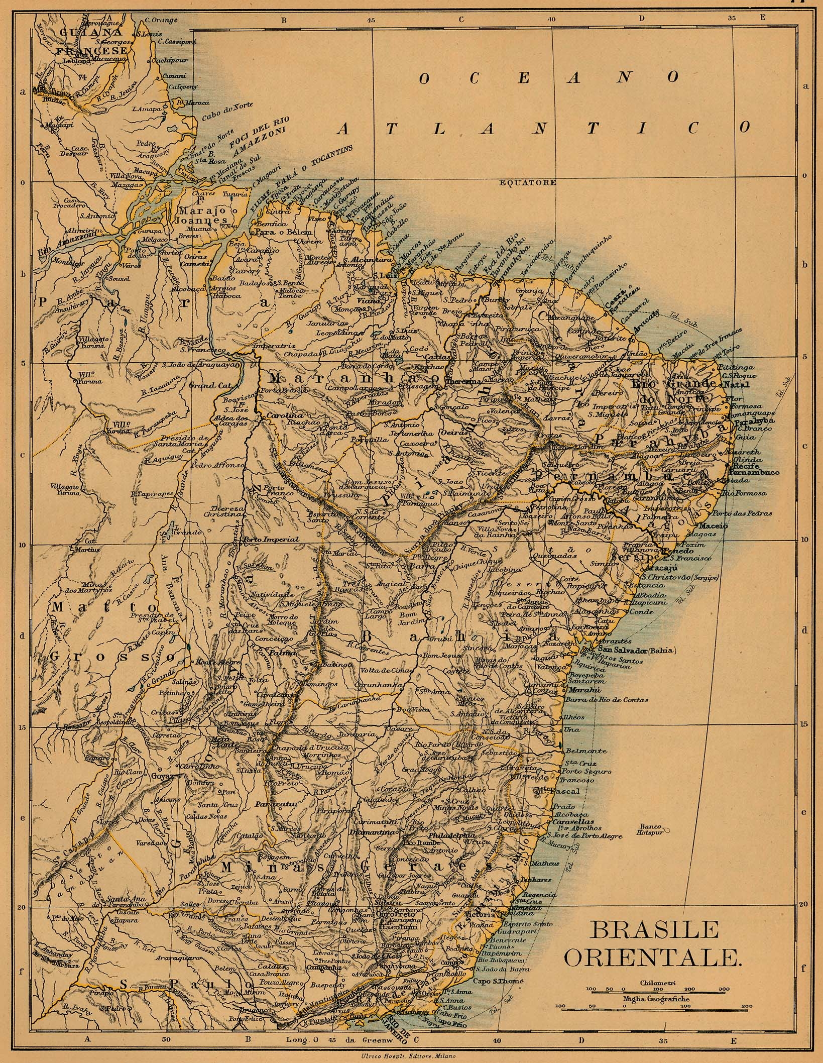 Mapa de Brasil Oriental 1899