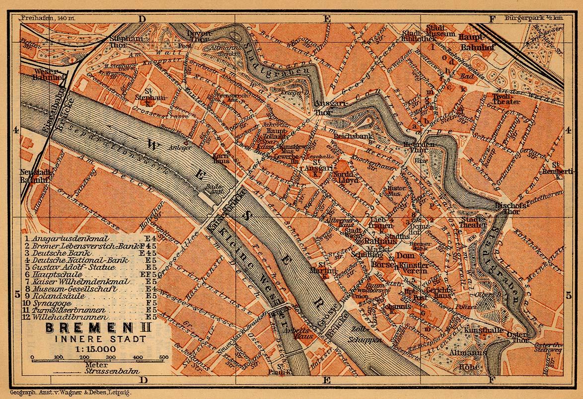 Mapa de Bremen (Interior de la Ciudad), Alemania 1910