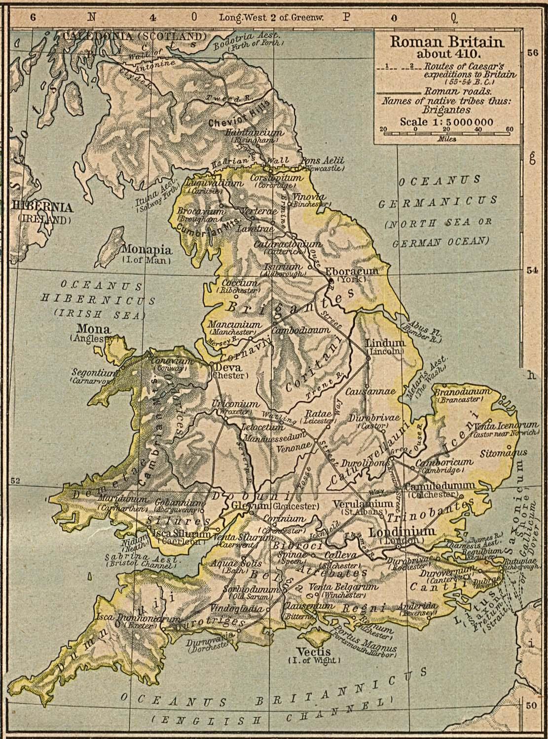 Mapa de Britania (Provincia Romana) Circa 410