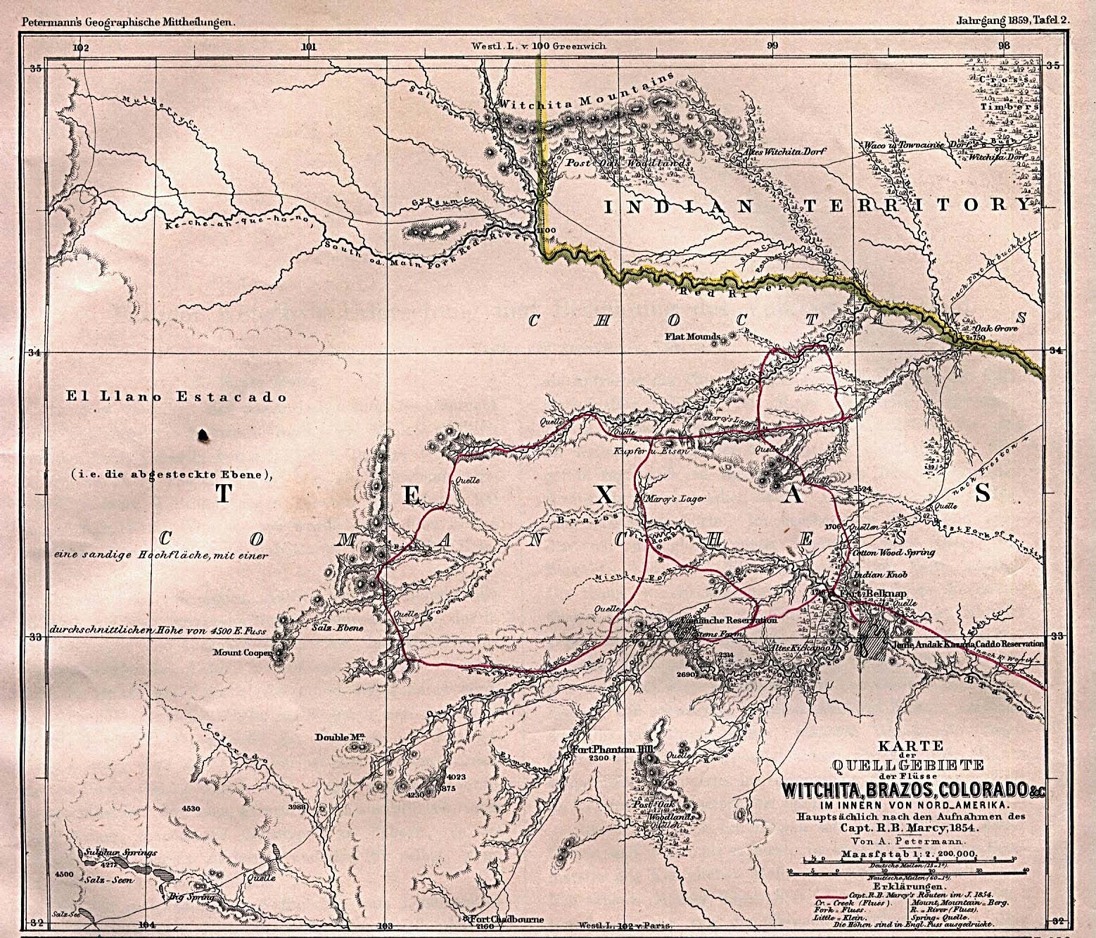 Map of Captain Marcy's route though Texas 1854