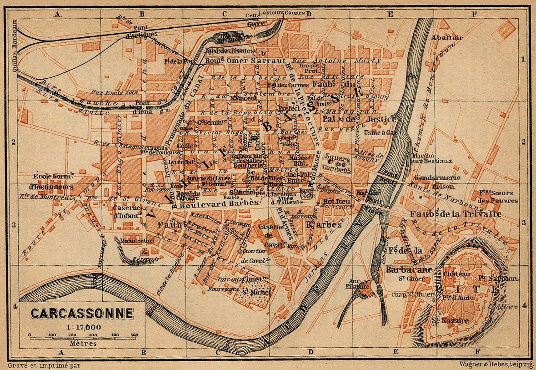 Mapa de Carcasona, Francia 1914