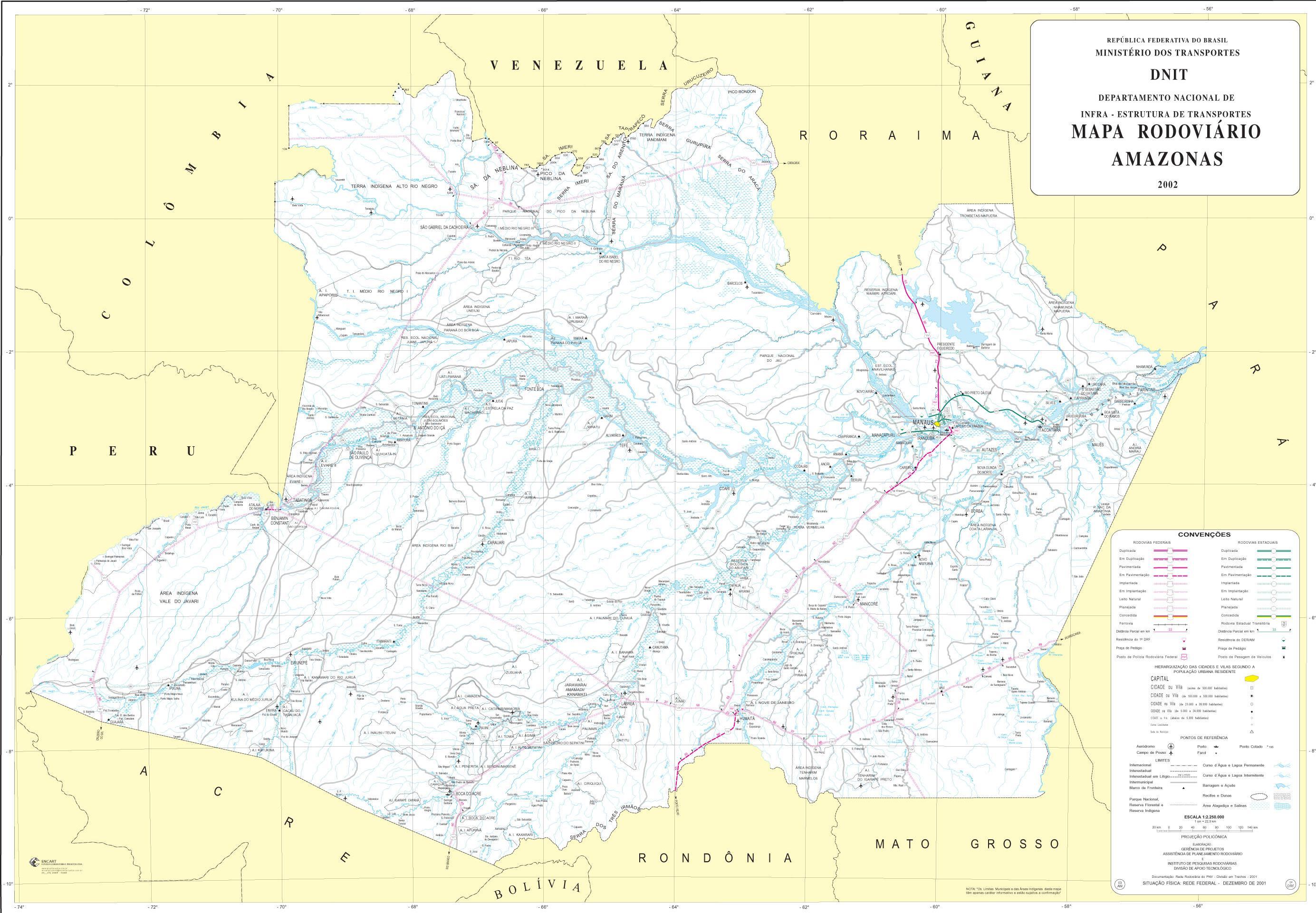 Mapa de Carreteras Federales y Estatales del Edo. de Amazonas, Brasil