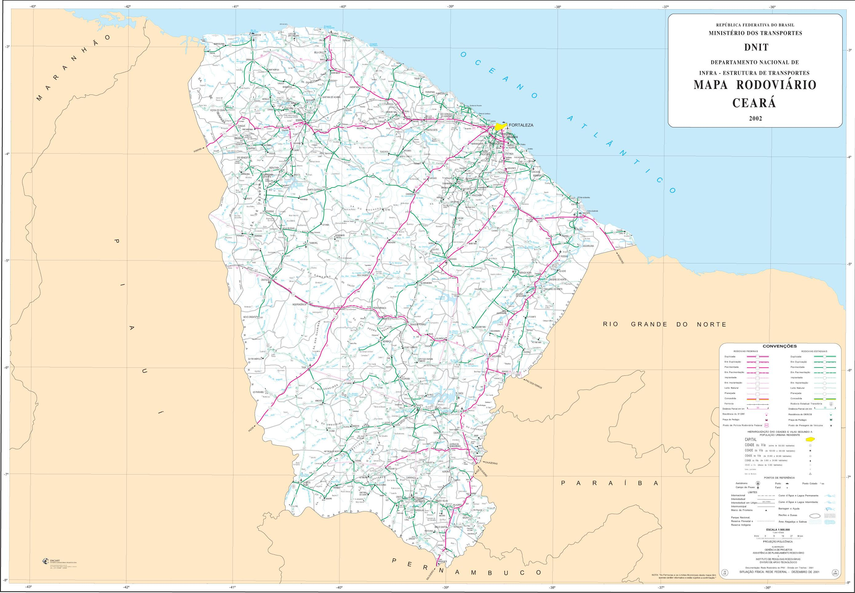 Ceará State Road Map, Brazil