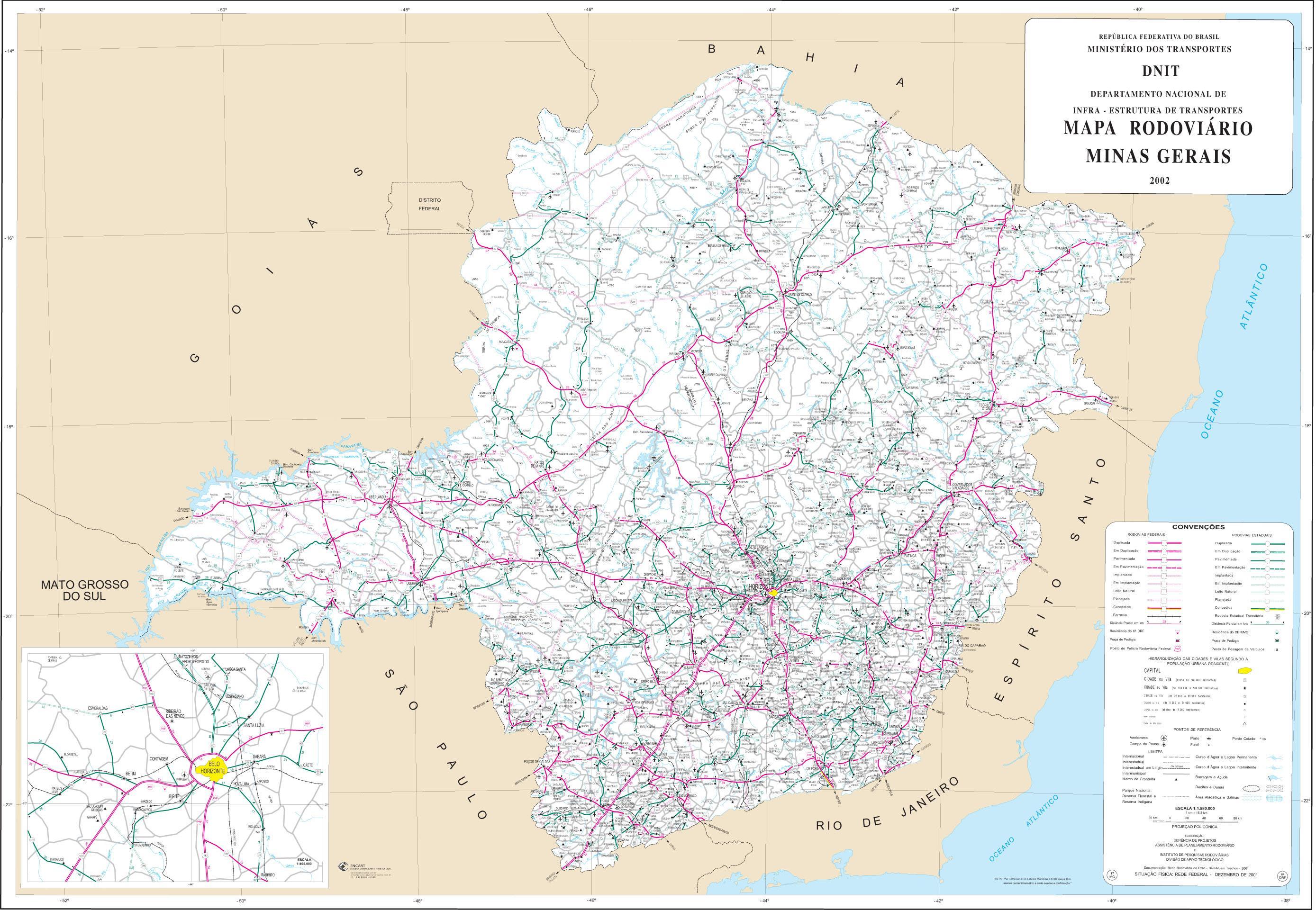 Mapa de Carreteras Federales y Estatales del Edo. de Minas Gerais, Brasil