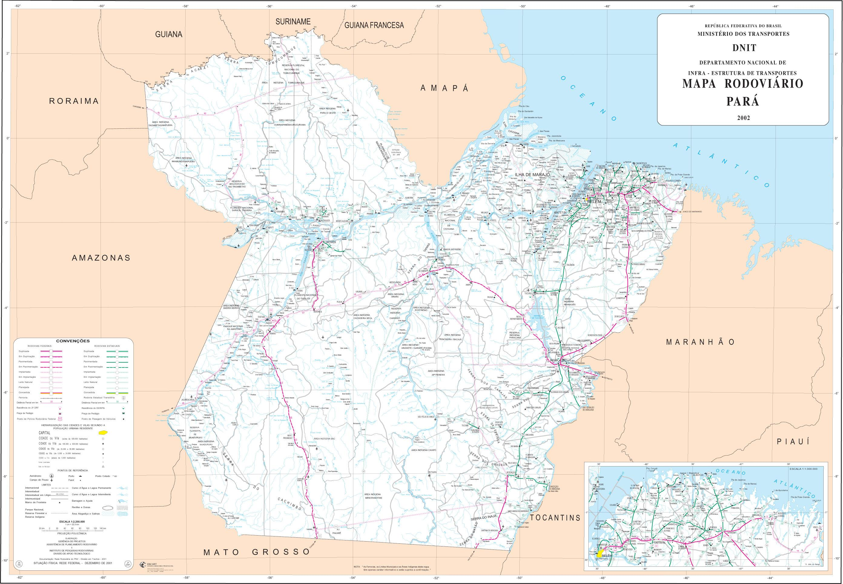 Pará State Road Map, Brazil