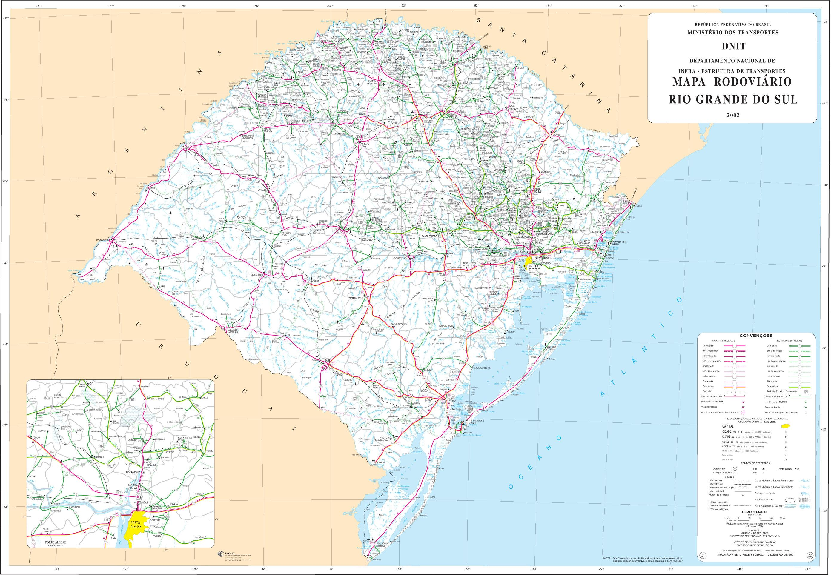 Mapa de Carreteras Federales y Estatales del Edo. de Rio Grande do Sul, Brasil