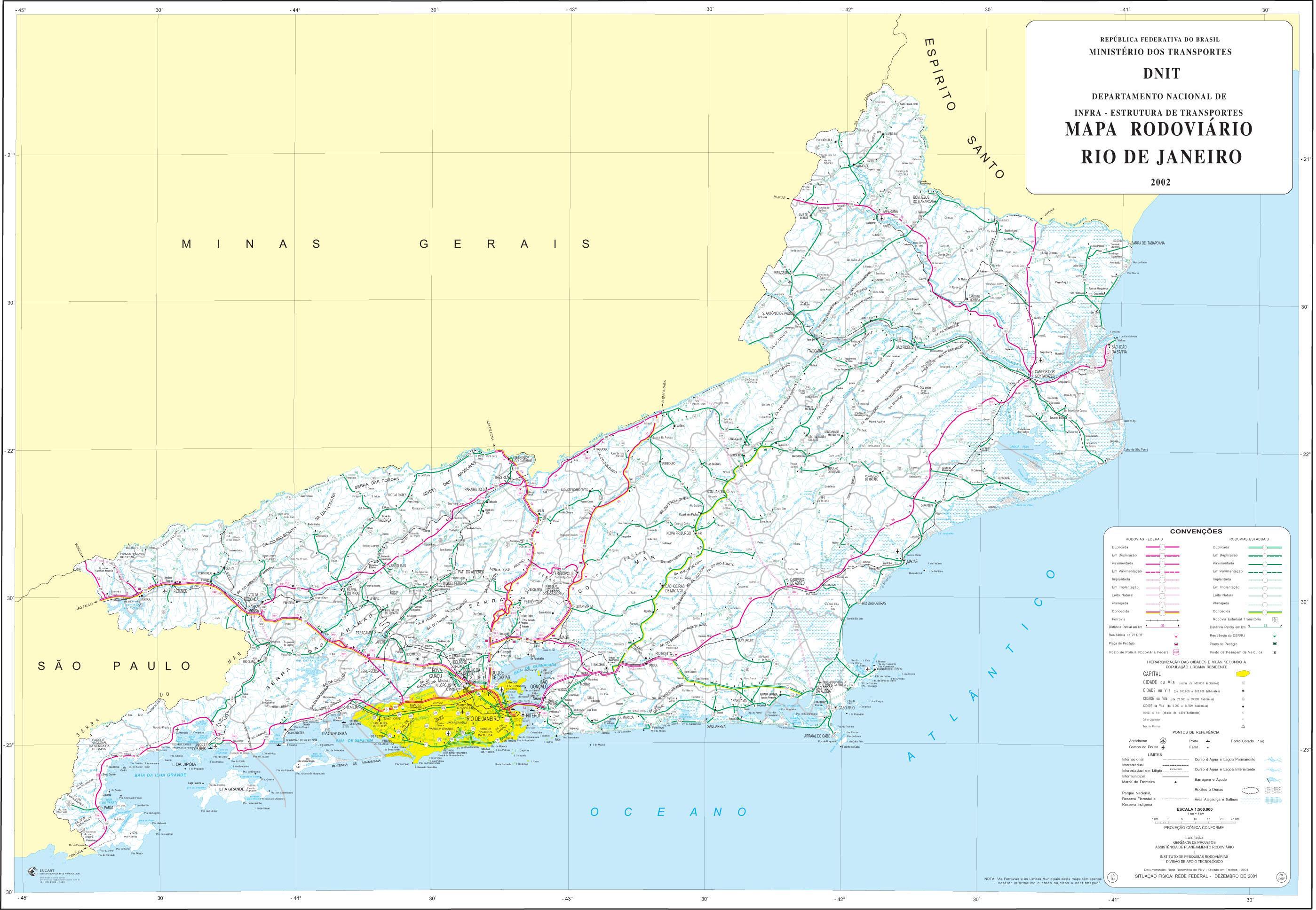 Mapa de Carreteras Federales y Estatales del Edo. de Rio de Janeiro, Brasil