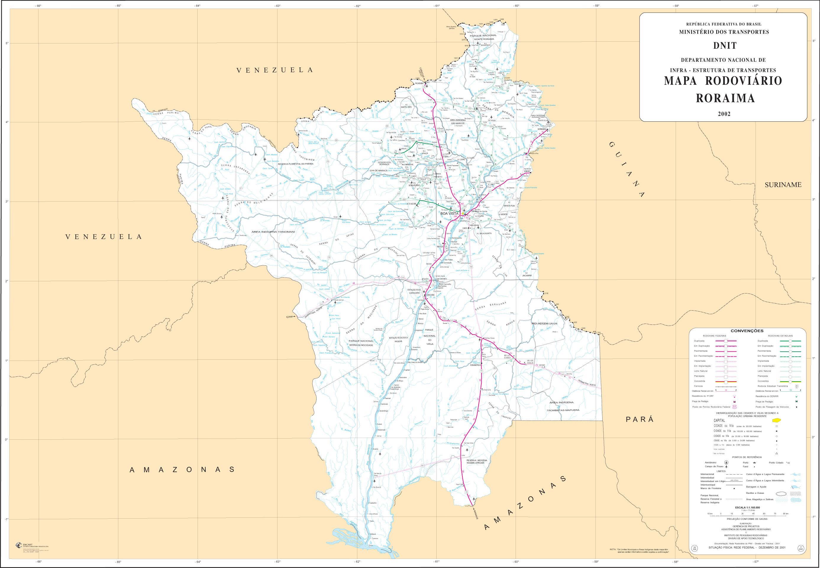 Mapa de Carreteras Federales y Estatales del Edo. de Roraima, Brasil