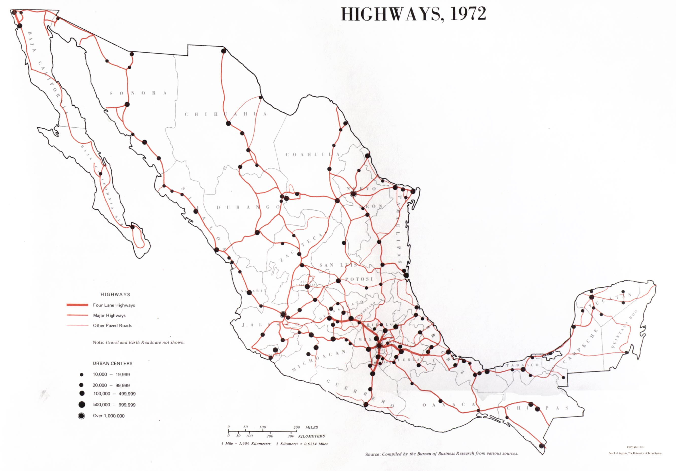 Highways Map, Mexico 1972