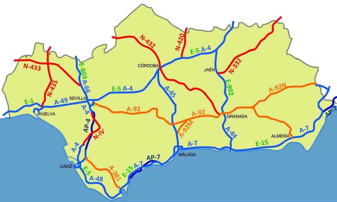 Mapa de Carreteras de Andalucía 2008