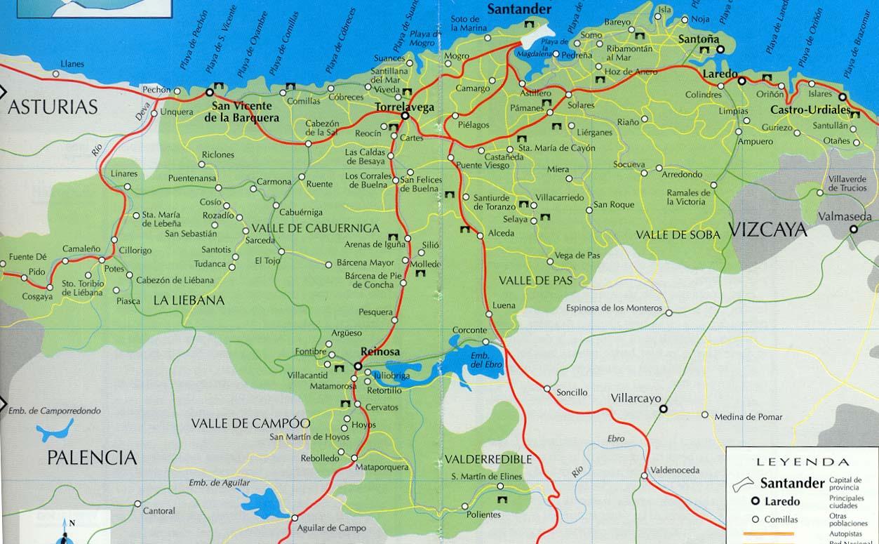 Mapa de Carreteras de Cantabria
