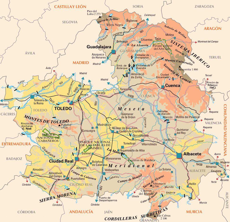 Castile-La Mancha Road Map